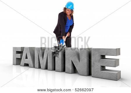 African American Woman Wearing A Protection Helmet Braking A 3D Famine Text  - Black People