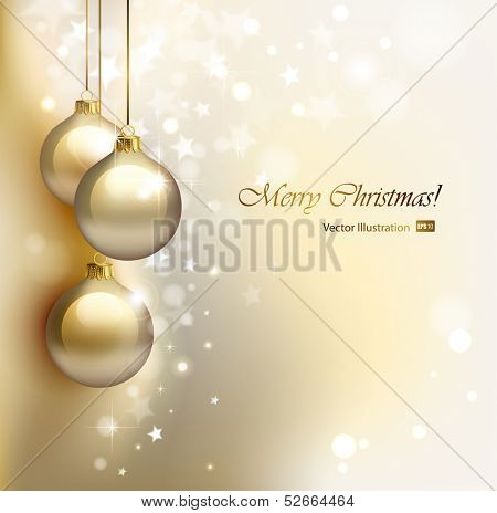 Christmas background with gold evening balls