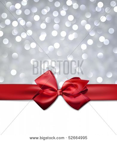 Christmas silver bokeh background with red bow. Vector eps10.