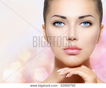 Beauty Portrait. Beautiful Spa Woman Touching her Face. Perfect Fresh Skin. Pure Beauty Model Girl.  poster