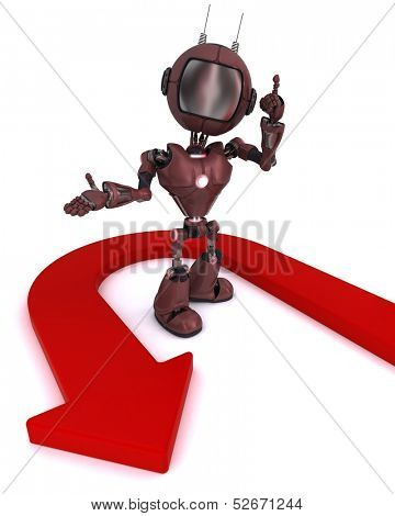 3D Render of an Android with u turn arrow