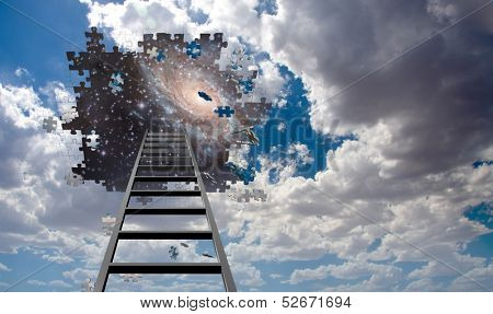 Puzzle Piece Hole in Sky, Falling Pieces and Ladder Some elements image credit NASA