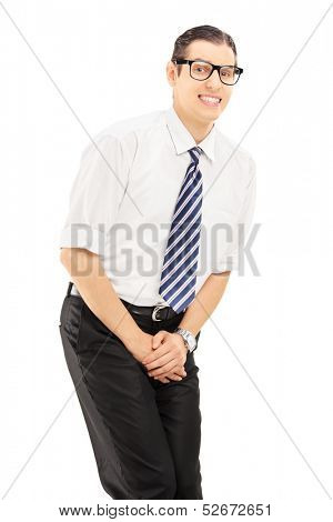 Young man with bladder control problem isolated on white background