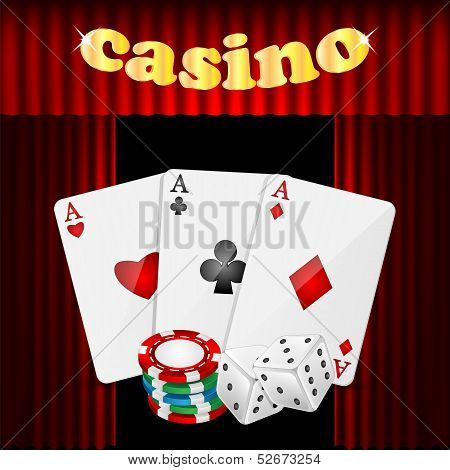 Casino Background.set Of Objects For A Casino On A Background Of Red Drapes.vector