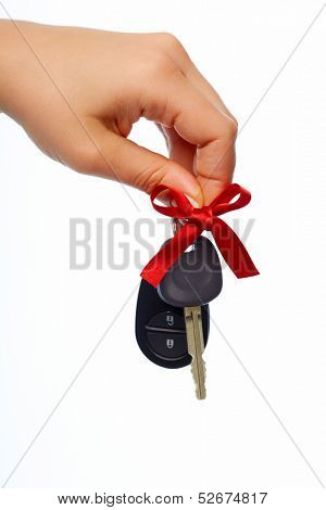 Car keys. Auto dealership and rental concept background.