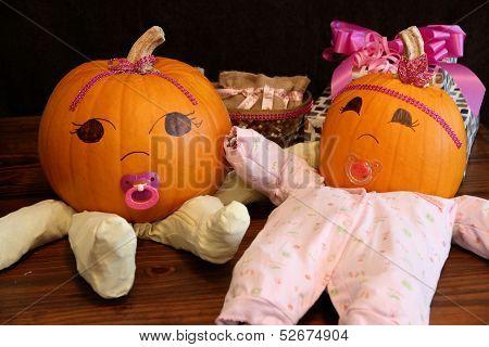 Two Cute Princess Pumpkin Babies