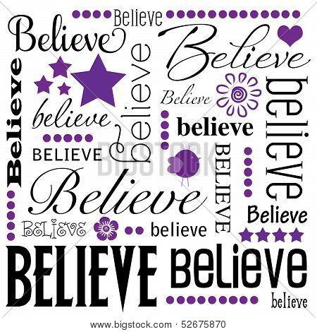 Believe Word Art White Background