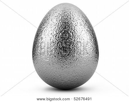 Silver Easter Egg On White Background.