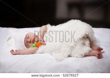 Sleeping Baby In A Suit Of A Bunny