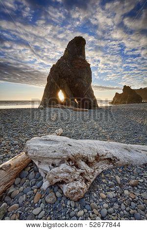 Sunset Through Sea Stack