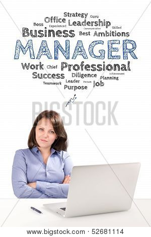 Woman Manager Is Sitting In Front Of A Laptop Under Work Emotions Bubble