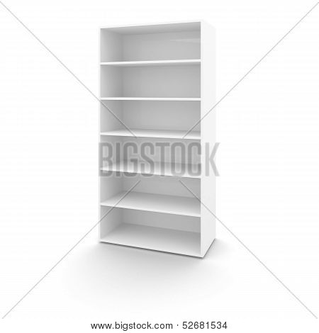 Empty White Office Cabinet Isolated On White Background With Soft Shadow
