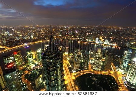 City Of Shanghai At Dusk, China