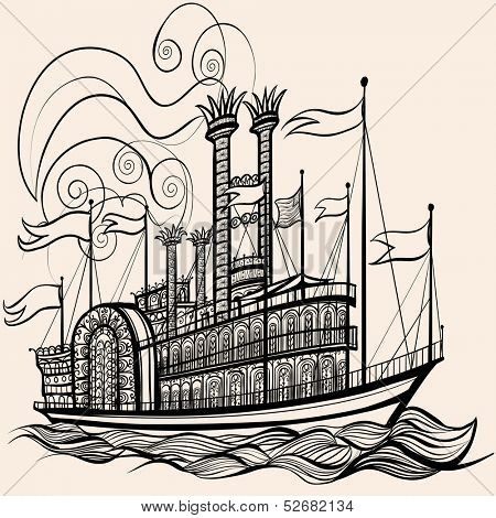 Vector illustration of an old steamboat
