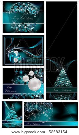Merry Christmas background collections silver and blue