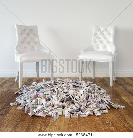 Interior Room With White Leather Chairs And Money On Wooden Floor