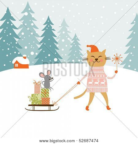 Cute kitty carries the sledge with gifts and little mouse