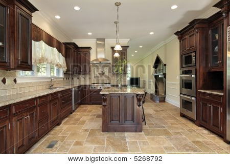Large Kitchen Cherry Wood Cabinetry