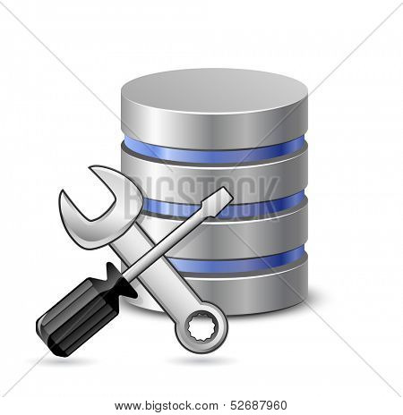 Database optimization and configuration concept. Vector Illustration