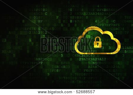 Cloud computing concept: Cloud With Padlock on digital backgroun
