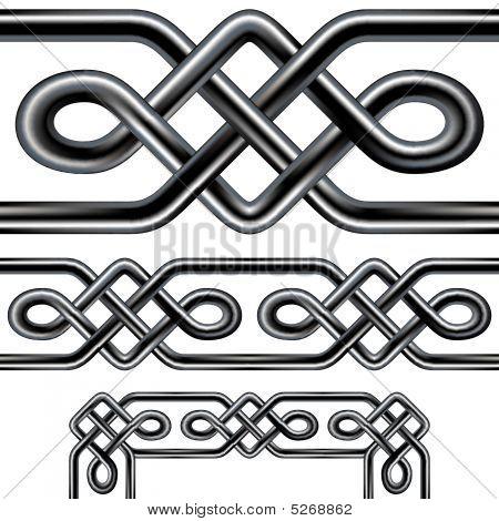 Celtic Rope Seamless Border Design With Corner Elements