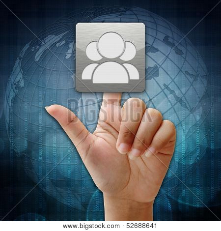 In Press Social People Icon On Global Background