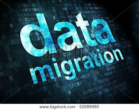 Information concept: Data Migration on digital background