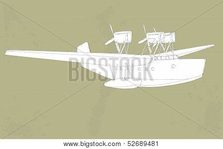 vintage styled illustration of a seaplane
