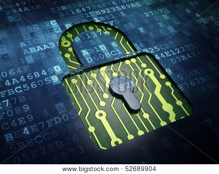 Privacy concept: Closed Padlock on digital screen background