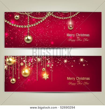 Set of Elegant Red Christmas banners with golden baubles and stars. Vector illustration