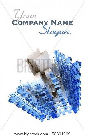 Abstract cubic structure built with blue and white shapes