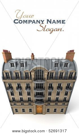 3D rendering of a typically Parisian building, Aerial perspective