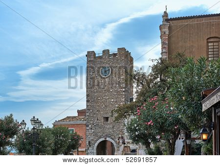 Taormina Sicily Italy - SEPTEMBER 09 2013: Church of San Giuseppe on the Piazza IX Aprile Taorminale