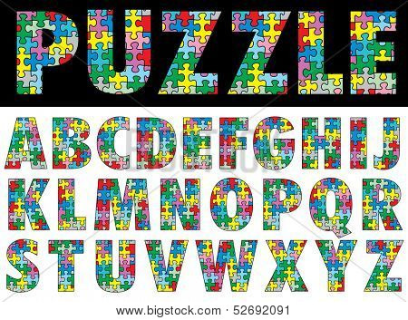 vector colorful puzzle alphabet