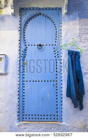 Blue door in Chefchaouen, Morocco