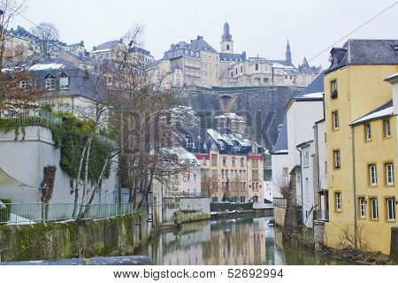 Grund Neighbourhood in Luxembourg on winter