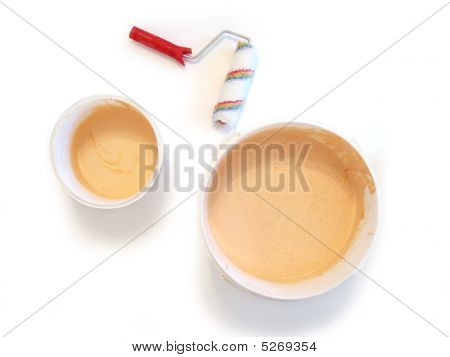 Paint Buckets And Paintbrush Isolated