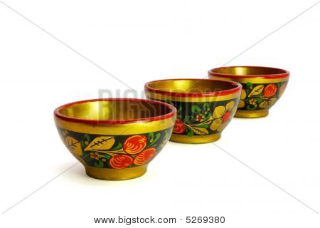 Three Painted Russian Wooden Cups Isolated