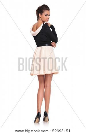 young fashion woman in a short sexy dress posing - picture from behind