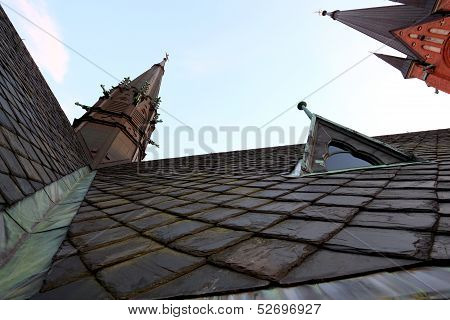 Church Roof In Frog Perspective