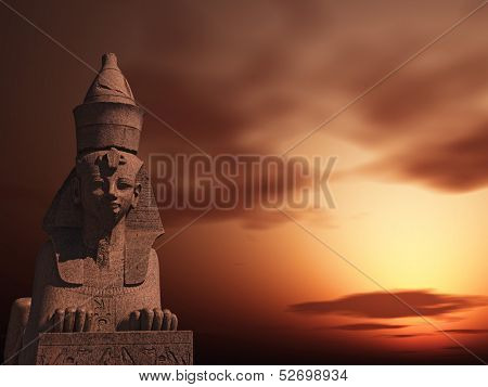 Egyptian Sphinx on the sunset sky background