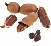 stock photo of tamarind  - Ripe tamarind fruit  - JPG