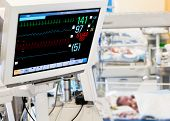 foto of electrocardiogram  - Patients monitor in neonatal intensive care unit - JPG