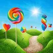 stock photo of sweet dreams  - Fantasy sweet candy land with colorful lolls - JPG