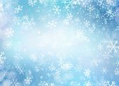 Winter Holiday Snow Background. Christmas Abstract Backdrop with Snowflakes. Blue Color poster
