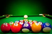 stock photo of snooker  - Fifteen billiard spheres lay on green cloth - JPG