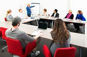 stock photo of training room  - Several businesspeople meeting in a spaceous meeting room for a presentation - JPG