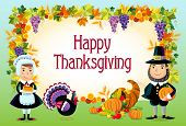 pic of cornucopia  - Vector illustration of happy thanksgiving day background - JPG