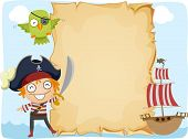 picture of raider  - Illustration of a Pirate Standing Beside an Unrolled Scroll - JPG