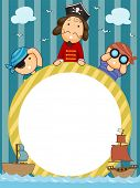foto of pirate  - Frame Illustration of Pirates Holding a Circular Frame Flanked by Pirate Ships - JPG